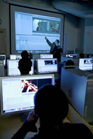 An instructor leads a Cinema and Digital Arts class. | Photo by Frank ...
