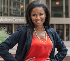 Pictured is BNY Mellon analyst Melisa Chipangila Campbell, a 2009 economics and finance and 2011 M.B.A. alumna. | Photo by Chris Rolinson