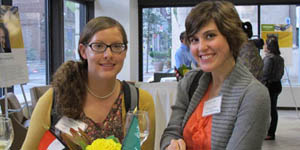 Pictured are two graduate students at Point Park's new graduate student reception. | Photo by Gina Puppo