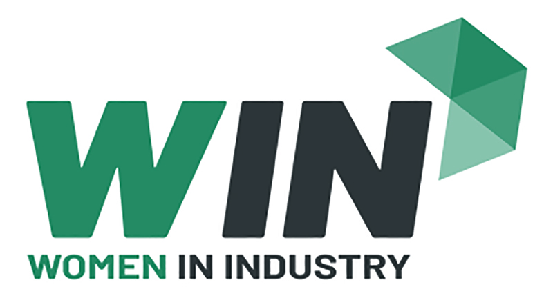 Pictured is the Women In Industry logo.
