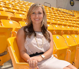 Pictured is Meghan McCabe, a 2013 sport, arts and entertainment management alumna and club manager for Heinz Field. | Photo by Connor Mulvaney