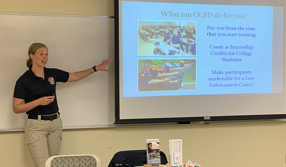 Pictured is an Ocean City Police Department officer presenting to criminal justice students. Photo by Gina Puppo