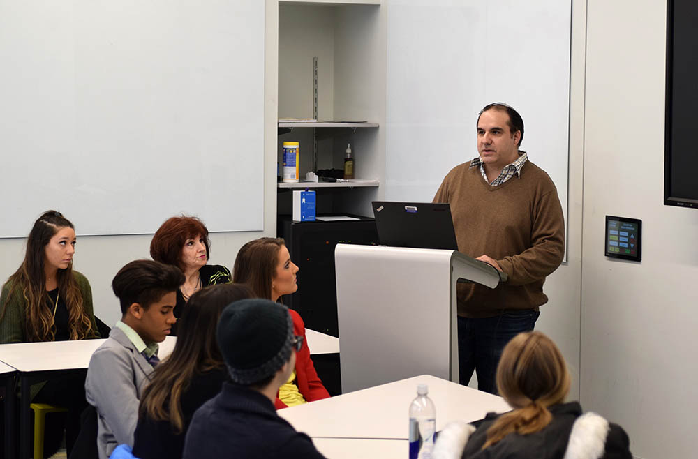 Alumnus David Perozzi in Point Park University's Center for Media Innovation