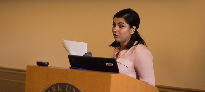 Pictured is Khyati Raj Solanki presenting at the Summer 2017 Criminal Justice Administration Graduate Symposium. | Photo by Annie Brewer
