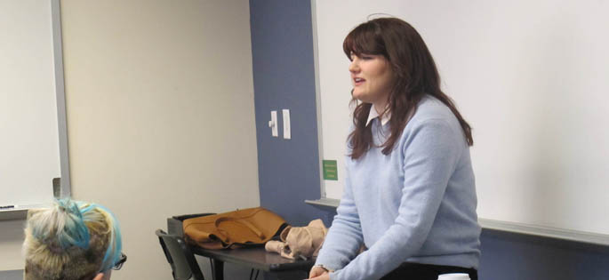 Pictured is poet Brittany Cavallaro teaching at master class at Point Park University. | Photo by Amanda Dabbs