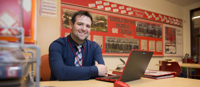 Pictured is Robert Michael, a 2014 secondary education English alumnus, curriculum and instruction graduate student and English/special education teacher at Moon Area High School. | Photo by Chris Rolinson
