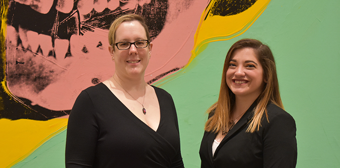 Pictured are Point Park alumni and Andy Warhol staff Charlene Bidula and Lena Tavoletti. | Photo by Brandy Richey