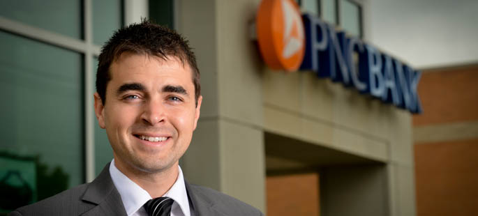 Pictured is Brandon Marsico, a business management alumnus, Veteran and ACCEL retail bank development program associate for PNC. | Photo by Jim Judkis