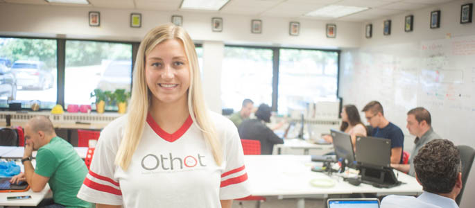 Pictured is Celina DiPietro, Point Park information technology major and co-op student at Othot. | Photo by Chris Rolinson