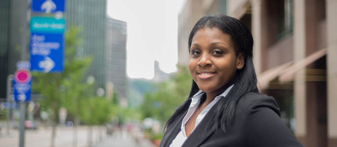 Pictured is Chynna Carter, M.B.A. alumna and associate consultant for Highmark. | Photo by Chris Rolinson
