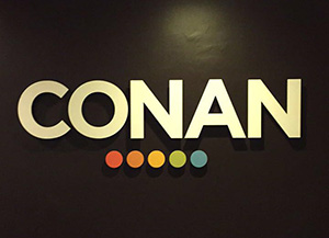 Pictured is the CONAN sign in the studio. | Photo by Cassandra Crisp