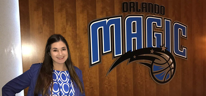 Pictured is SAEM alumna Dana Drewniak, ticket sales representative for Orlando Magic. | Photo by Rachel Maddox