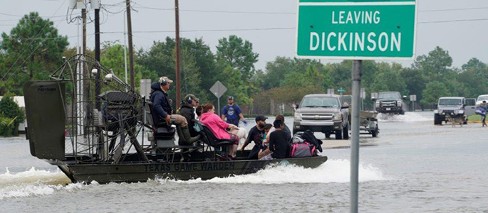 Picture of the flooding in Dickinson, Texas. | Photo by Roy Cox