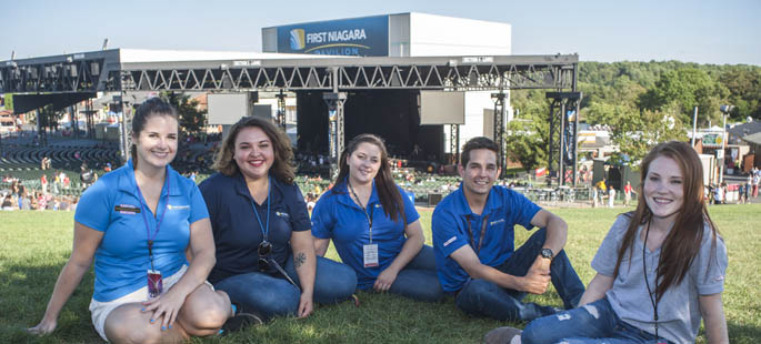 Pictured are Point Park SAEM majors at Live Nation's First Niagara Pavilion. | Photo by Chris Rolinson
