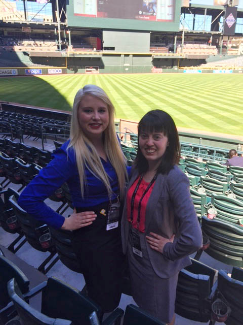 Pictured are SAEM students Hailie Sandor and Jessica Martin at the 2016 MLB Diversity Business Summit. | Photo submitted by Sandor and Martin