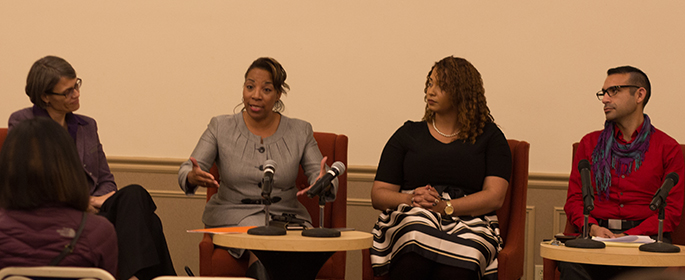 Pictured are the panelists at the Student Human Resources Association panel event on diversity and inclusion. | Photo by Annie Brewer