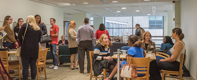 Pictured are Point Park HR students meeting with employers at a networking event on campus. | Photo by Nick Koehler
