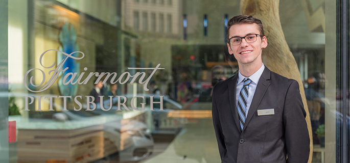 Pictured is Jaron Andrechak, SAEM major doing a co-op for Fairmont Pittsburgh Hotel. | Photo by Nick Koehler