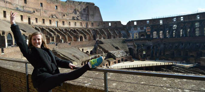 Pictured is Julia Grubbs, an accounting and dance double major who recently studied abroad at American University of Rome. | Photo submitted by Grubbs
