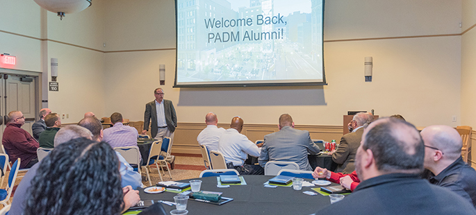 Pictured are public administration alumni at the 2017 reunion event. | Photo by Nick Koehler