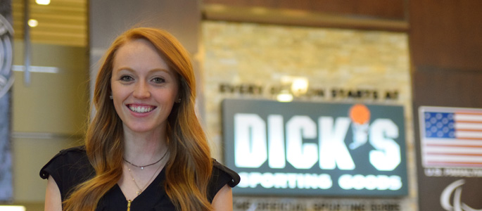 Pictured is Rebecca Shore, SAEM alumna and marketing planning specialist for Dick's Sporting Goods. | Photo by Gracey Evans