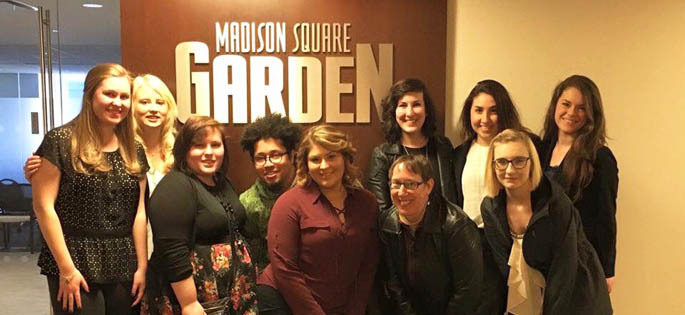 Pictured are SAEM students and Assistant Professor Teresa Gregory, CFRE, at Madison Square Garden. | Photo submitted by Kimmy Prelosky