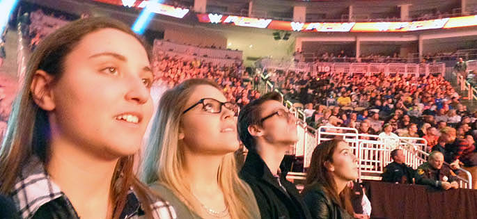 Pictured are SAEM students at WWE Monday Night Raw Show Nov. 30 at the CONSOL Energy Center. | Photo by David Rowell