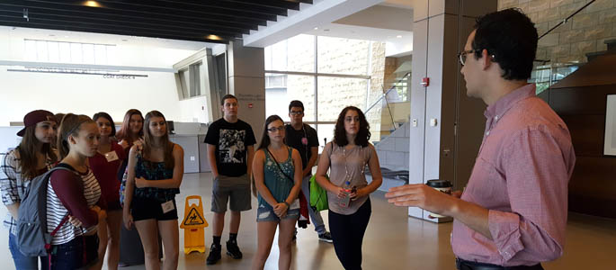 Pictured are students touring the August Wilson Center as part of the 2016 SAEM High School Summer Workshop. | Photo by David Rowell, M.F.A.