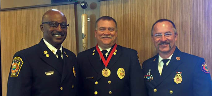 Pictured left to right: Daryl Jones, chief of the Pittsburgh Bureau of Fire; Thomas Cook, assistant chief of the Pittsburgh Bureau of Fire and  Tim Brown, platoon chief of the Mt. Lebanon Fire Department. | Photo by Tina Cook
