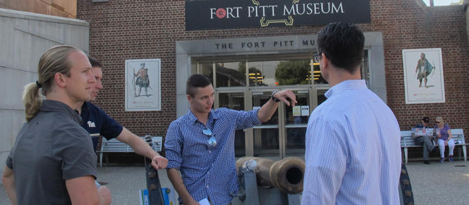 Pictured at the Fort Pitt Museum are attendees of Point Park's Fall 2016 Veterans Leadership Initiative Event. | Photo by Amanda Dabbs