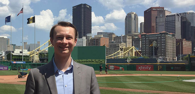 School of Communication student Josh Croup is an intern with the Pittsburgh Pirates. Photo | Kelsey Veydt