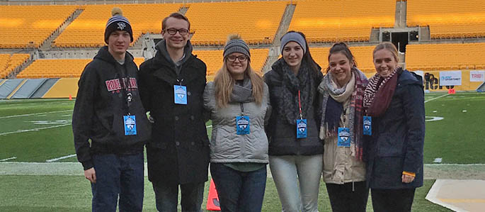 Point Park University School of Communication majors spent their Friday nights this fall with the AT&T SportsNet production crew for high school football broadcasts. Submitted photo