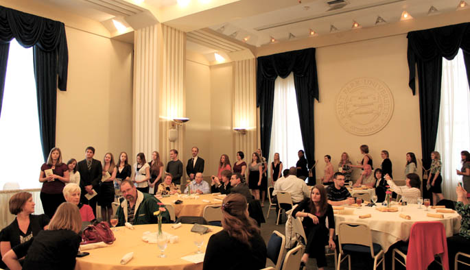 Students prepeare to be  inducted into Point Park's chapter of the Alpha Chi National College Honor Society near the end of spring term, 2010. | Photo by Camelia Montoy
