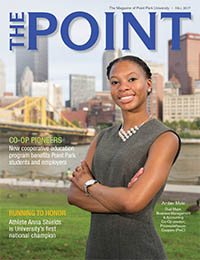 Image of the cover of The Point, the magazine for alumni and friends of Point Park University