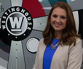 Pictured is Brittany Lauffer, broadcast major and news intern for KDKA-TV. | Photo by Victoria A. Mikula