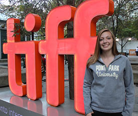 Pictured is Kelsey Myers at the Toronto International Film Festival. Submitted photo