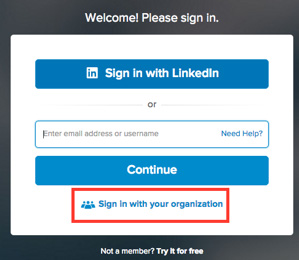 A screenshot illustrating how to sign in via an organization on Lynda.com