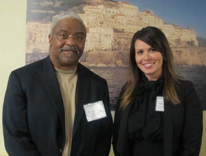 Pictured left to right are Stanley Denton, Ph.D., associate professor of education, and Aimee Cordero-Davis, Ed.D. student. | Photo by Amanda Dabbs