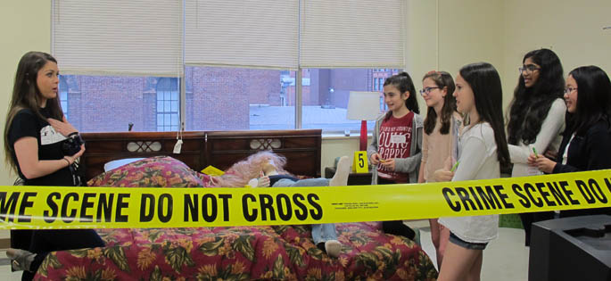 Pictured are students from Boyce Middle School in Point Park's CSI House. | Photo by Amanda Dabbs