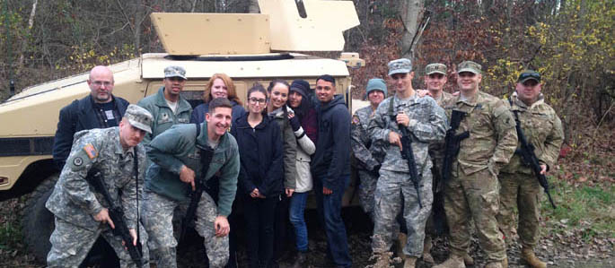 Pictured are Point Park criminal justice and intelligence and national security majors with soldiers of the 303rd Psychological Operations Unit of the U.S. Army Reserves. | Photo by Captain Michael Schwille