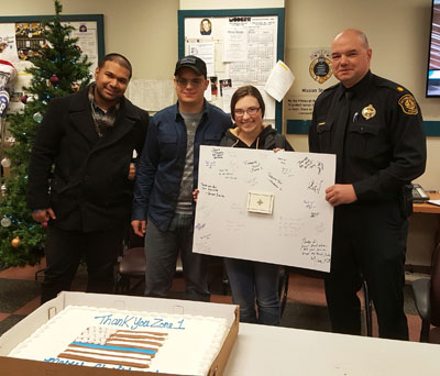 Pictured are Point Park University criminal justice students at Pittsburgh's Zone 1 Police Station.