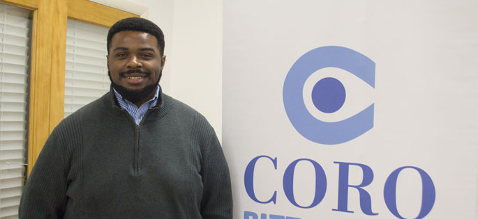 Pictured is Laier-Rayshon Smith, political science graduate and fellow for CORO Pitsburgh. | Photo by Shayna Mendez