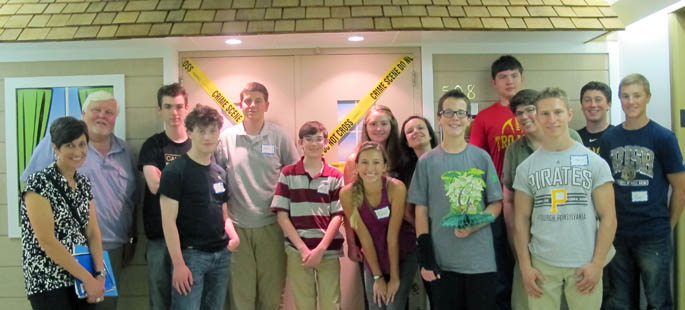 Pictured are STEM high school students at Point Park's CSI House. | Photo by Amanda Dabbs