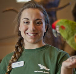 Pictured is biological sciences major and National Aviary intern Maria Fusco.
