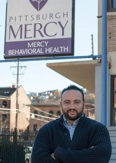 Pictured is Richard Moody, English and criminal justice administration alumnus and clinical outpatient supervisor for Pittsburgh Mercy Behavioral Health/Trinity Healthcare. | Photo by Victoria A. Mikula