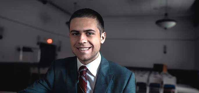 Pictured is Bradley Calleja, an accounting and business management student interning for Flagship Business Plans and Consulting. | Photo by Daniel Kelly