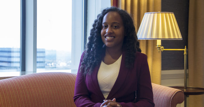 Pictured is M.B.A. alumna Camille Reed, BA consultants and vice president at BNY Mellon. | Photo by Shayna Mendez