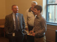 Pictured is accounting student Chris Cerda networking with an accountant from Schneider Downs. | Photo by Sarah Myskin