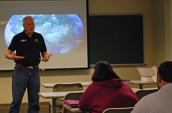Pictured is Don Christian, Silicon Valley innovator and engineer speaking to the Business of Energy M.B.A. class at Point Park University. | Photo by Sydney Patton