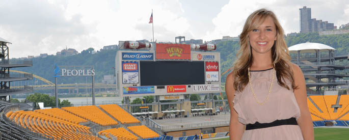 Pictured is sport, arts and entertainment management alumna Meghan McCabe, club manager at Heinz Field. | Photo by Connor Mulvaney